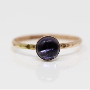 Gold Filled Round Purple Glass Ring 7.25